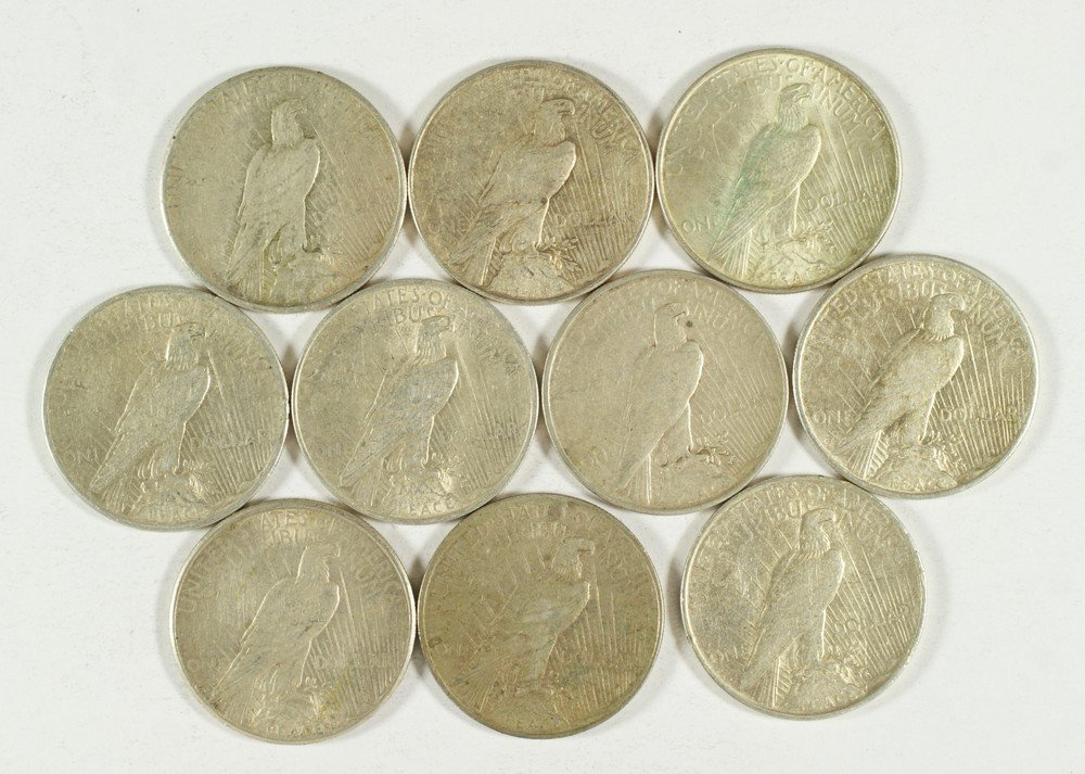 5148: 10 various date Peace dollars VG to VF - 2