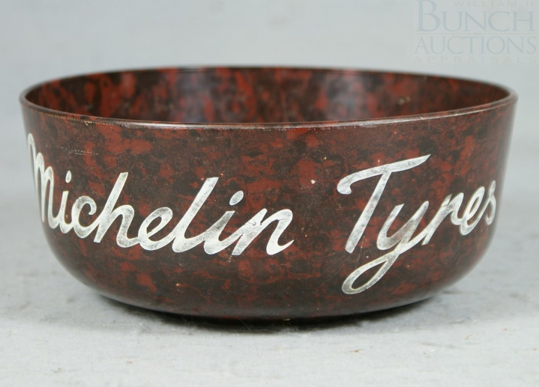 "2A: Bakelite 'Michelin Tyres' Bowl, 7-3/4"" diameter"
