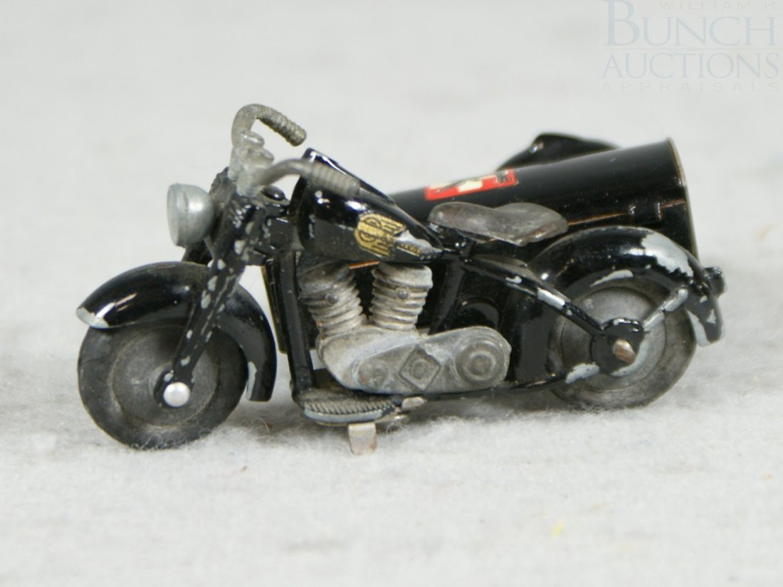 3A: Tekno Motorcycle sidecar toy, circa 1930's, from De