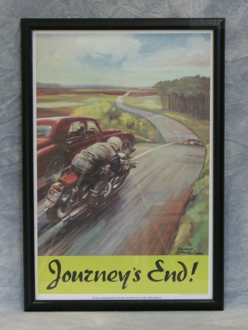 """6: Roland Davies motorcycle print """"Journey's End!"""", 32"""""""