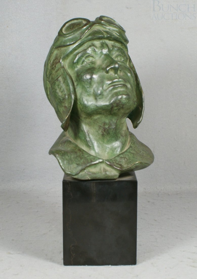 12A: Levasseur, bronze sculpture of a rider with goggle