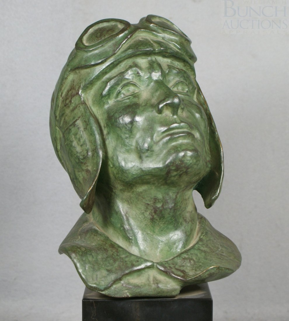 12A: Levasseur, bronze sculpture of a rider with goggle - 2