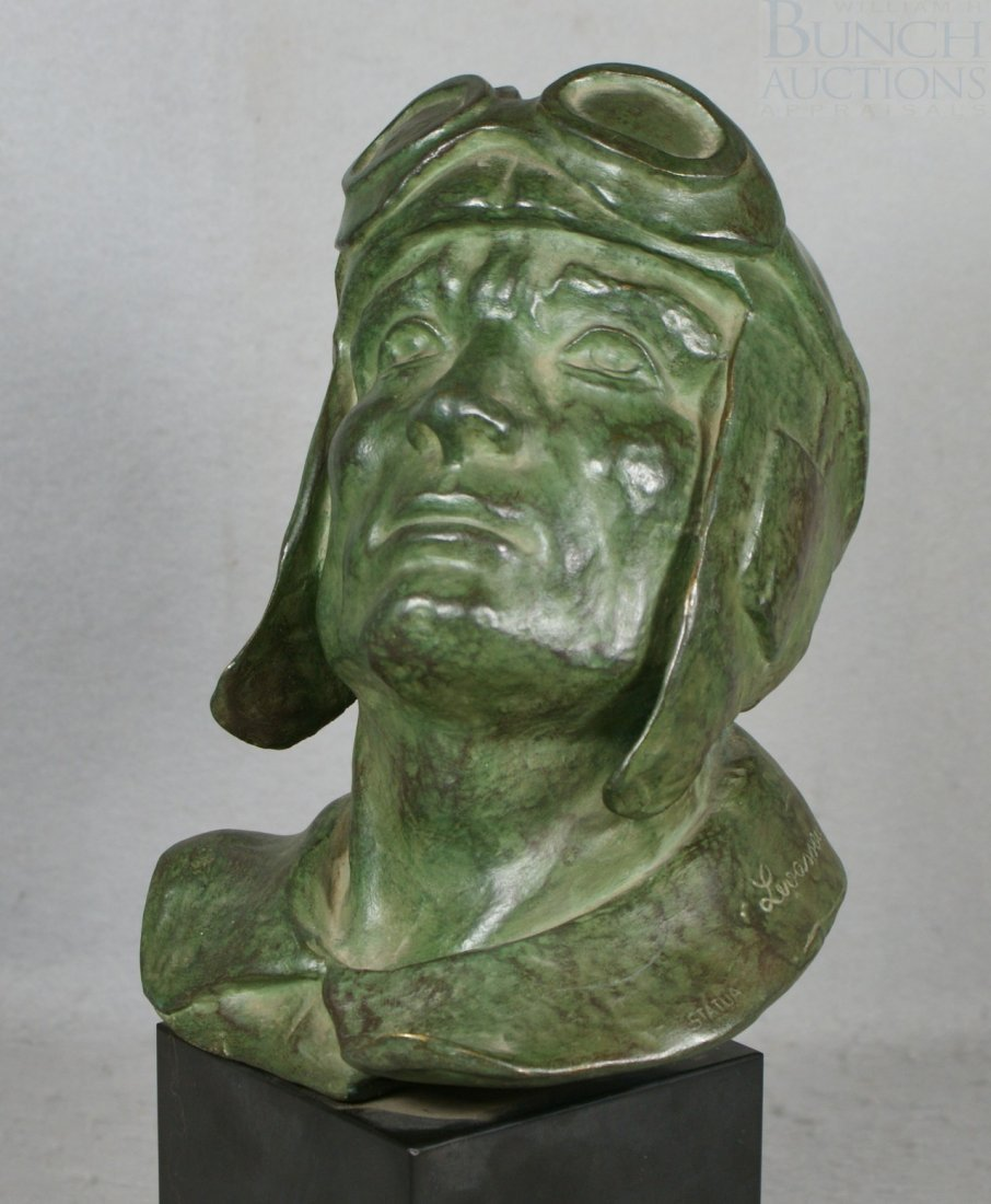 12A: Levasseur, bronze sculpture of a rider with goggle - 3