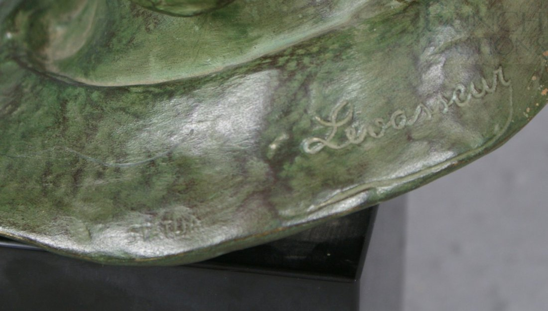 12A: Levasseur, bronze sculpture of a rider with goggle - 4