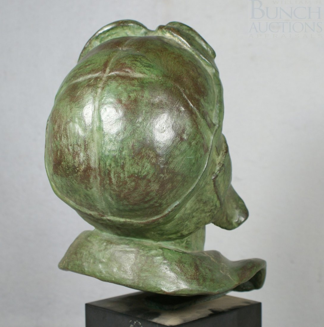 12A: Levasseur, bronze sculpture of a rider with goggle - 5