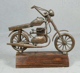 Bronze Patinated Metal Folk Art Motorcycle, Mounte