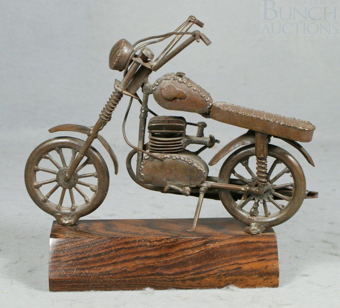 14A: Bronze patinated metal folk art motorcycle, mounte - 2
