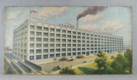 Excelsior-Henderson Factory Building Oleograph, 20