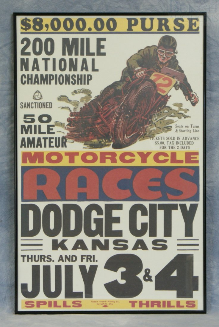 23: Motorcycle Races Dodge City Kansas July 3&4 poster,