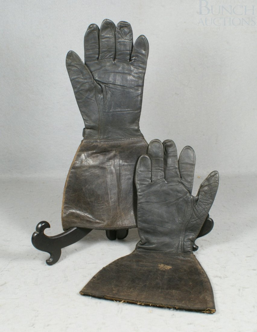 "24A: Black leather driving gloves,  14"" long"