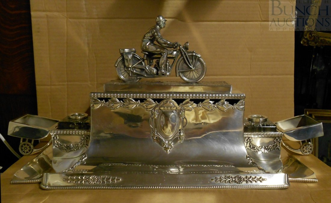 39A: Plated silver desk stand motocycle racing trophy,
