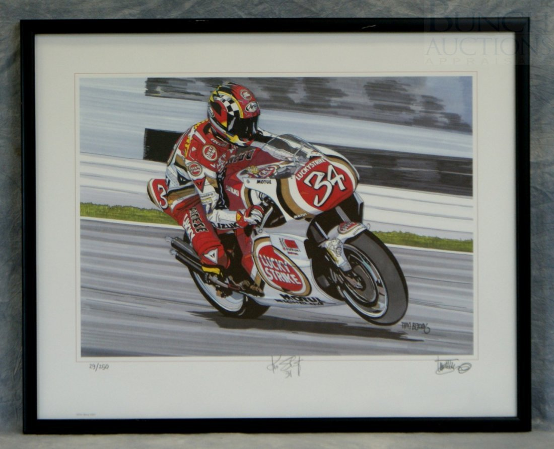 42: Tim Berry print featuring Kevin Schwantz, signed by