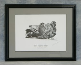 "Signed Motorcycle Print By Savage, ""Last American H"
