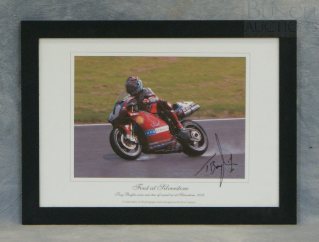 "56: Signed photographic print ""First at Silverstone"" fe"