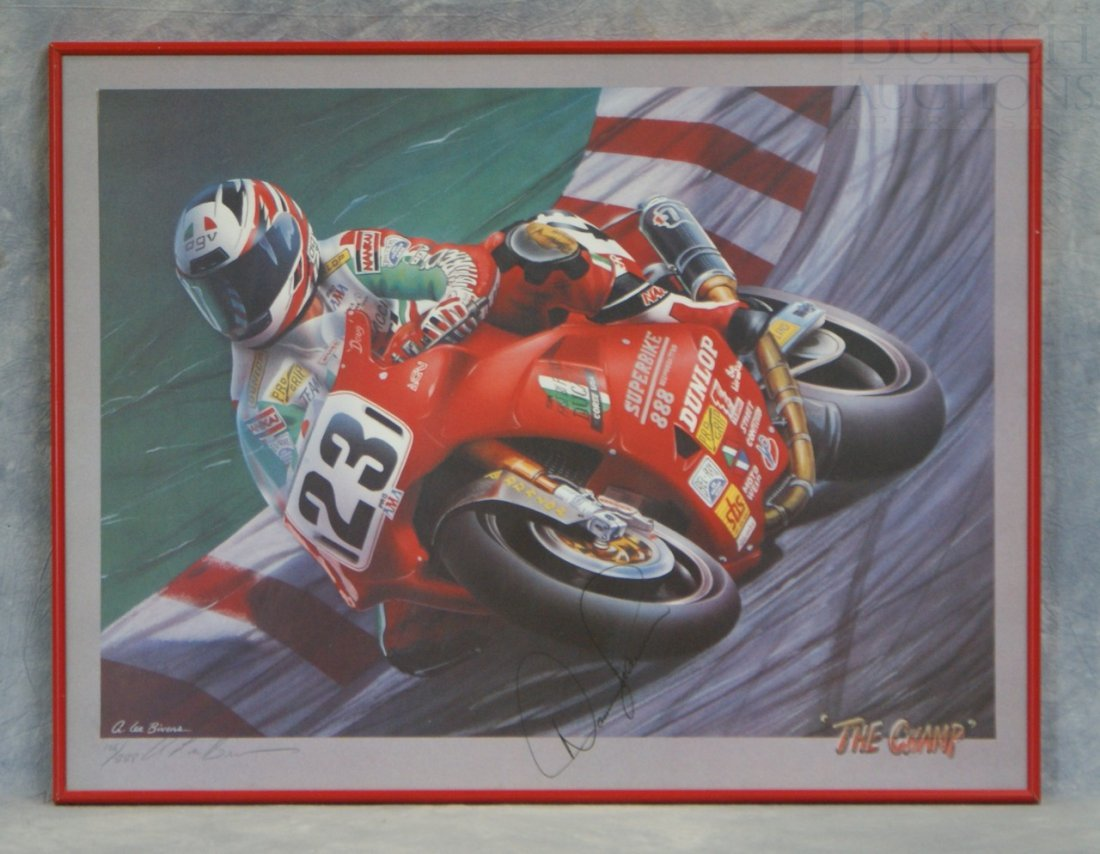 "57: Signed A Lee Bivens motorcycle print, ""The Champ"" s"