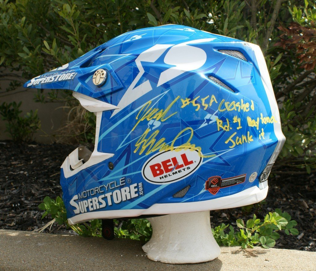 25A: BELL RACING MOTORCYCLE HELMET, signed by Jake Shoe