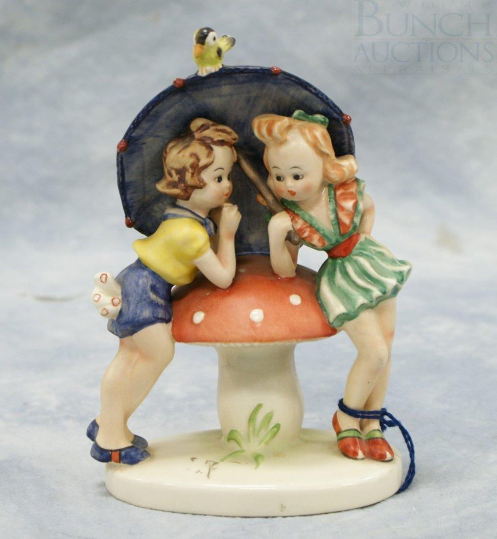3083: Goebel figurine, two girls leaning on mushroom un