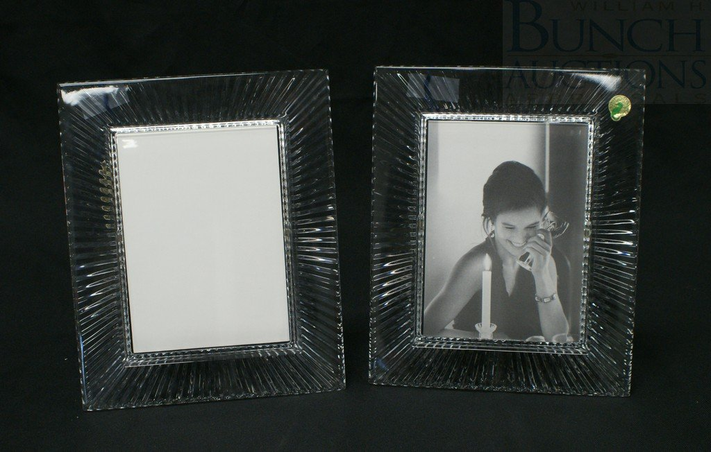 """3108: (2) Waterford crystal 5"""" x 7"""" picture frames, ove"""