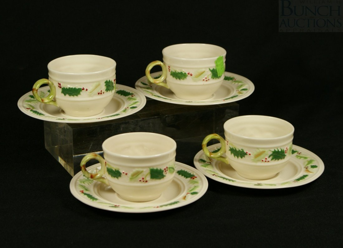 3150: Belleek 4 Enchanted Holly pattern cups and saucer
