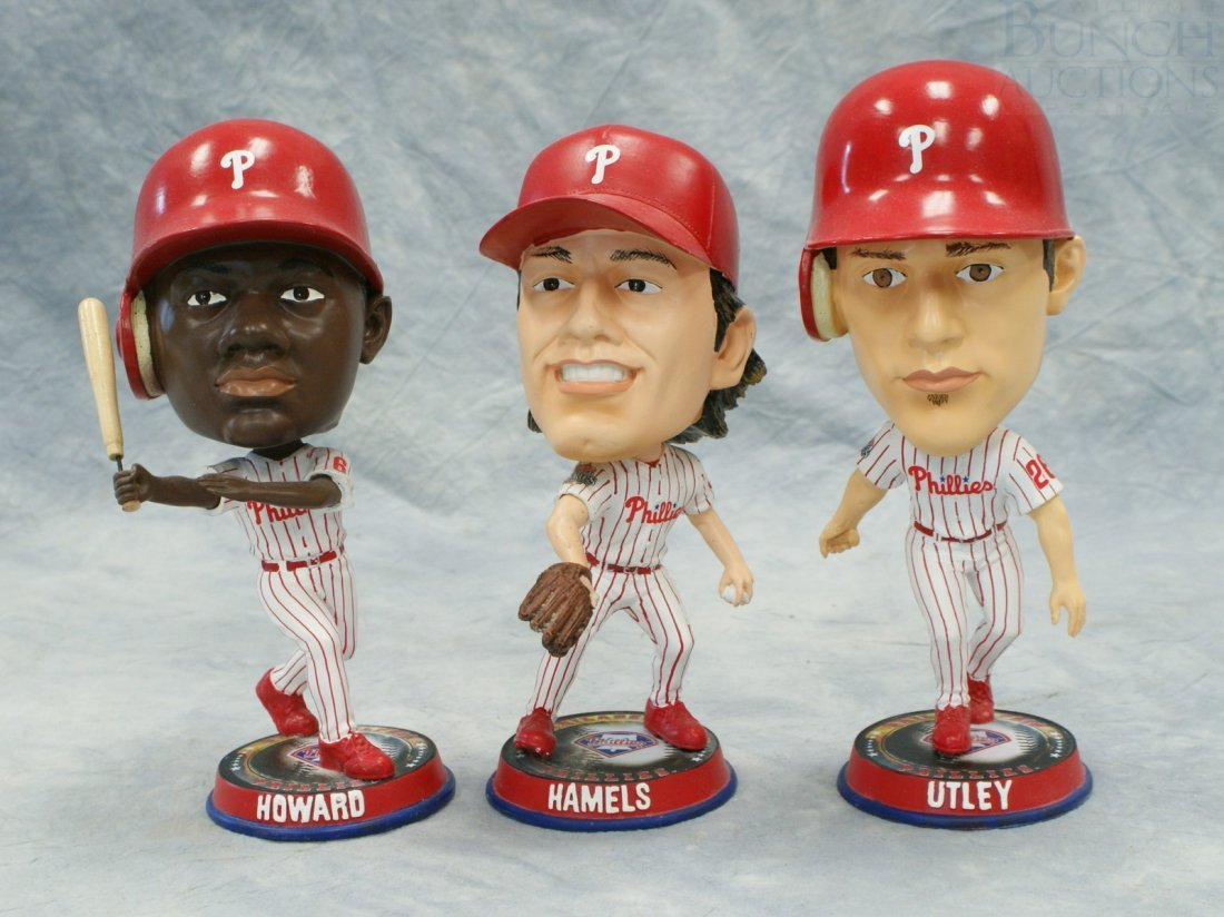 3263: 3 Philadelphia Phillies Bobble Heads, Forever Col