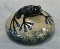 3121A: Art glass frog paperweight, signed John Nygren 1