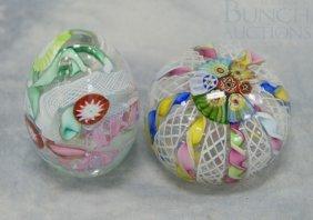 (2) Unsigned Latticino Art Glass Paperweights, Ta