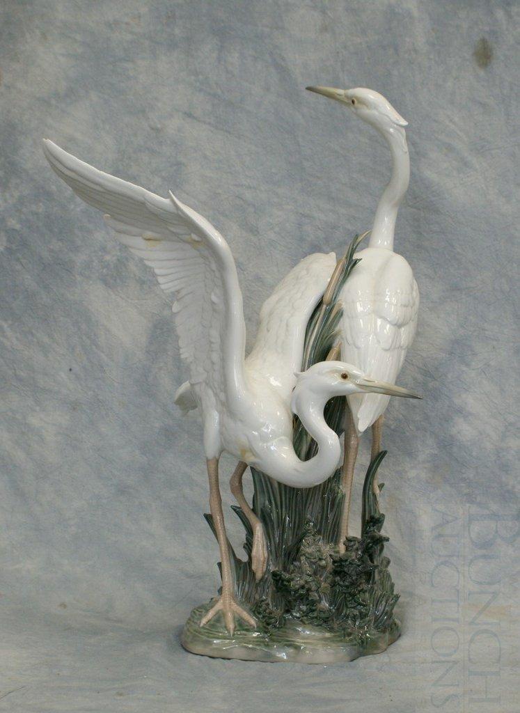 3048A: Lladro Two Herons porcelain figurine, polychrome