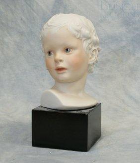 "Cybis Eros Boy Bust Bisque Porcelain, 9 1/2"" H"