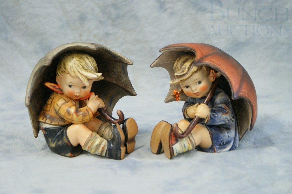 3153F: (2) Hummel figurines, Umbrella Boy 152/0A, Umbre