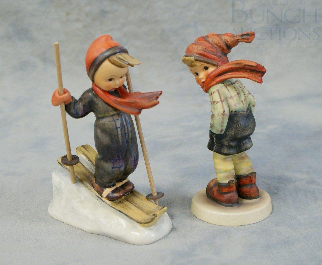 3153H: (2) Hummel figurines, Skier Boy 59, TMK3, March