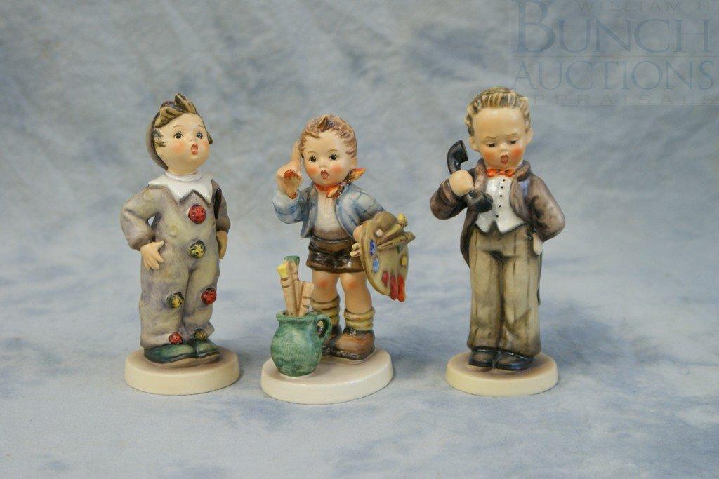 3153P: (3) Hummel figurines, Hello, 124/0, TMK3, Carniv