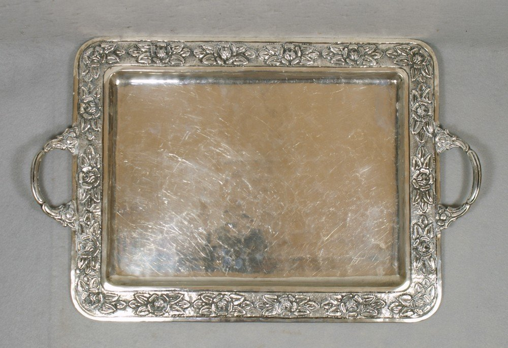 "4048: Sterling silver Mexican tray, marked ""Real Silver"