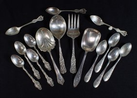 4 Sterling Silver Serving Spoons/fork, With 4+4+3
