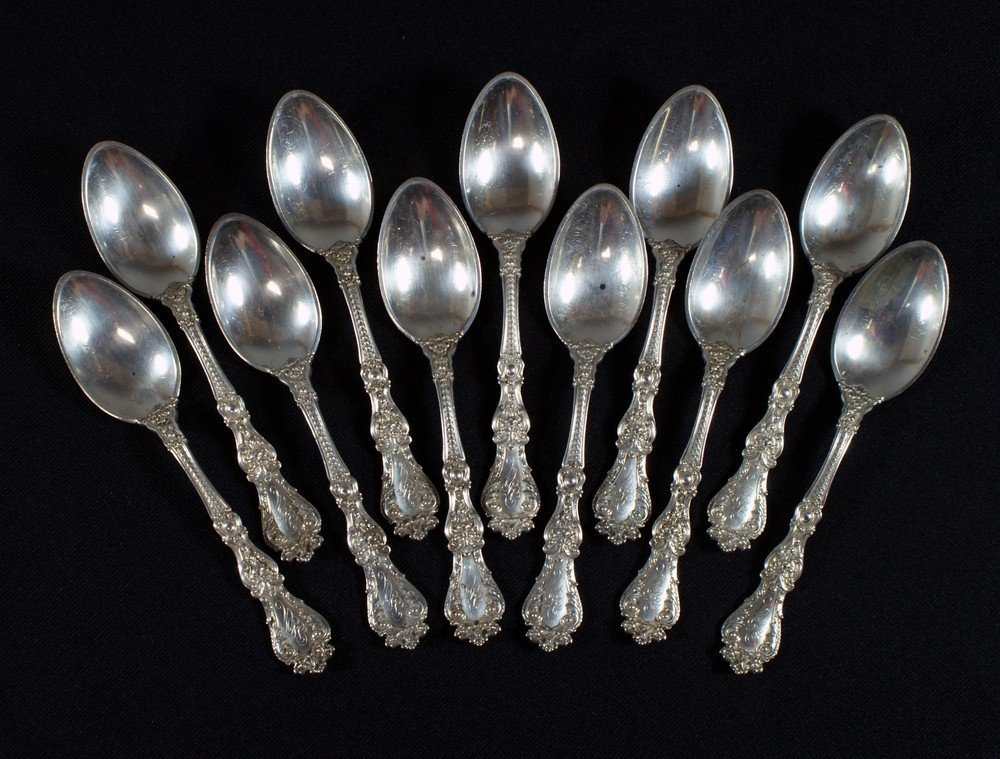4060: 11 Gorham sterling silver teaspoons, pat 1900, mo