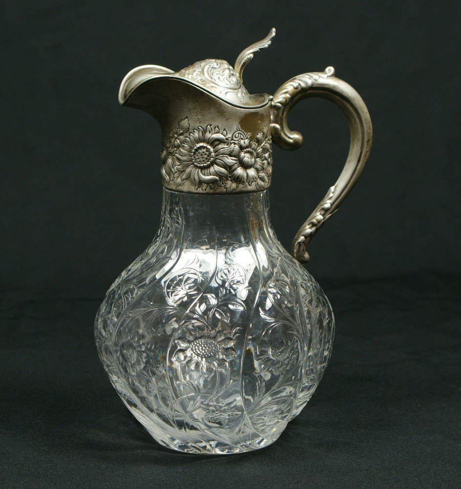 4068: Engraved crystal claret jug with sterling silver