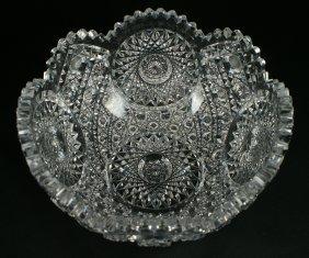 "Brilliant Cut Glass Bowl, 9"" D, 4 3/8"" High"