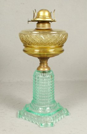 Thousand Eye Variant Oil Lamp With Apple Green Ba