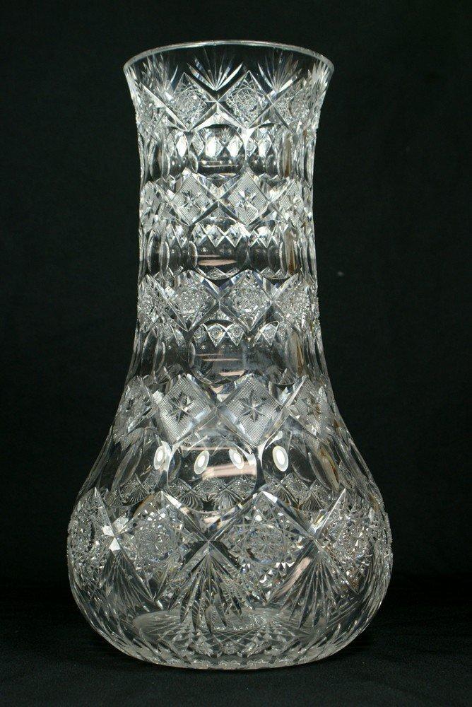 "4190: Brilliant cut glass baluster form vase, 15 1/2"" t"