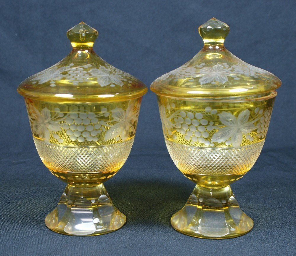 4193: Pr etched amber to clear Bohemian glass covered j