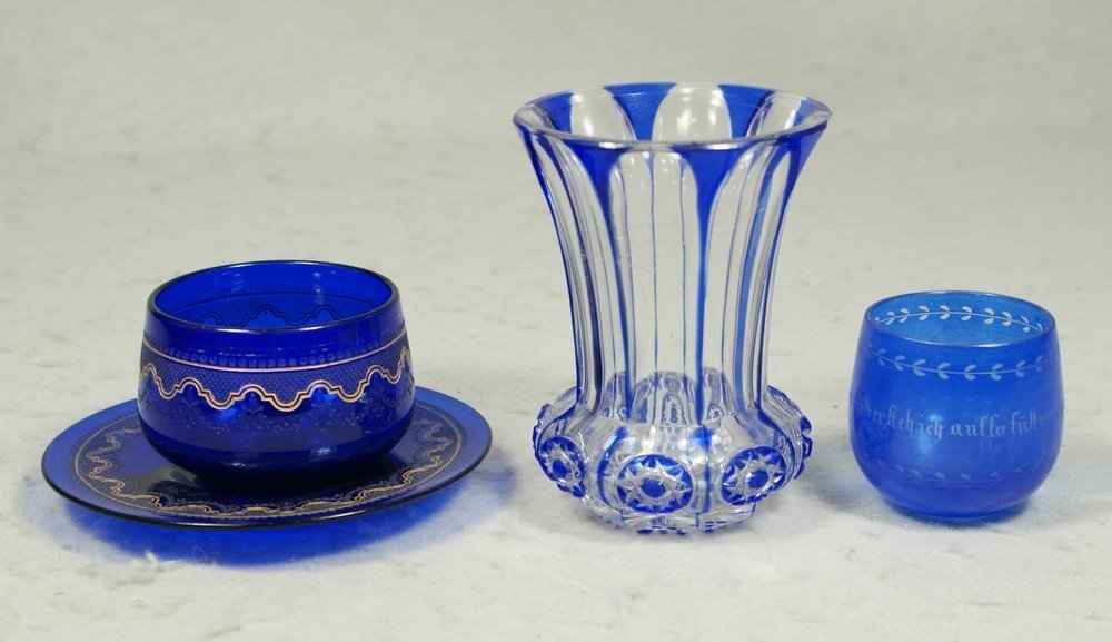 4195: 3 pcs blue Bohemian glass, etched gilt cup/saucer