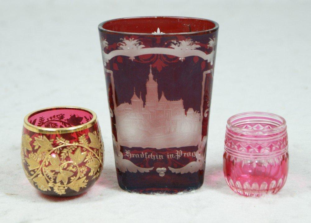 4196: 3 pcs cranberry/ruby Bohemian glass, Prague engra
