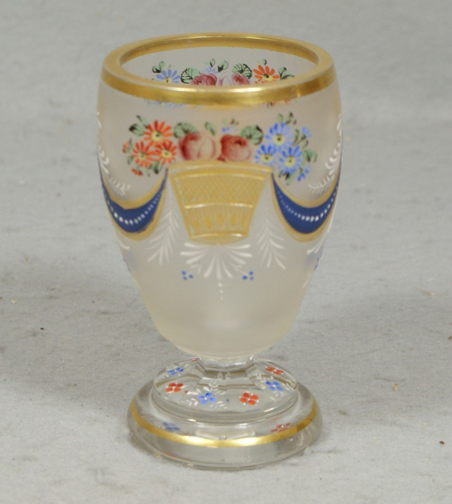 4199: Moser type footed goblet, frosted body with engra