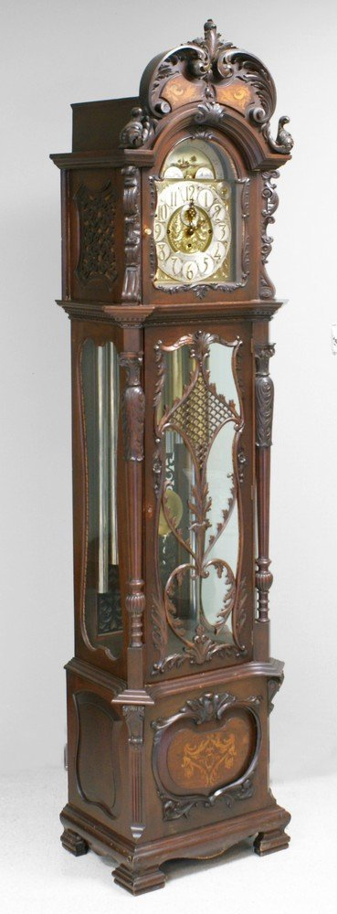 4201: Carved & inlaid mahogany Walter Durfee 9 tube hal