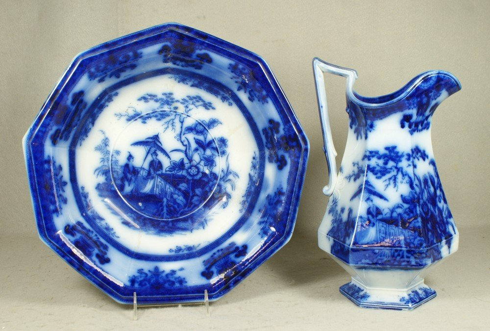 4202: Flow blue transfer pitcher and bowl, Amoy by Dave