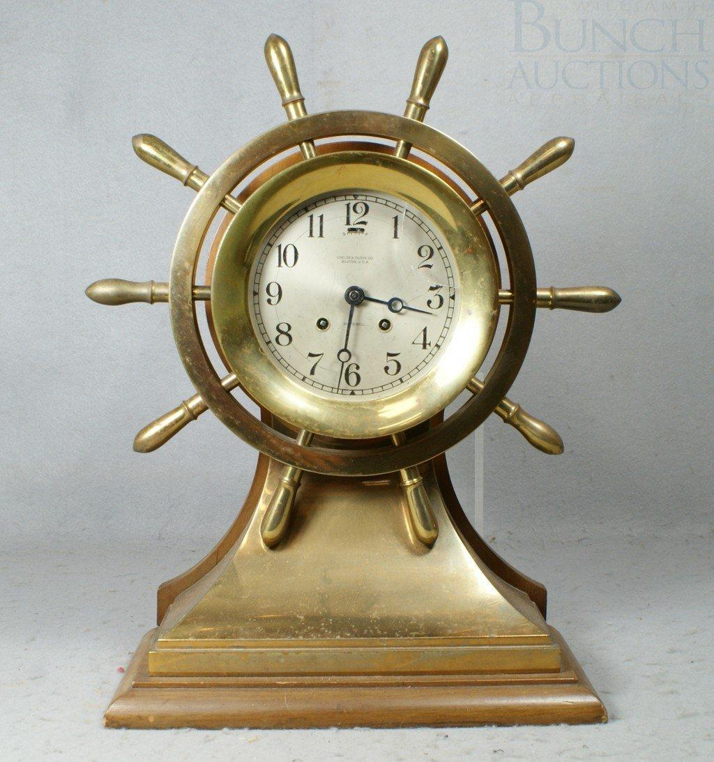 4204: Chelsea brass Mariner ships clock, mahogany base,