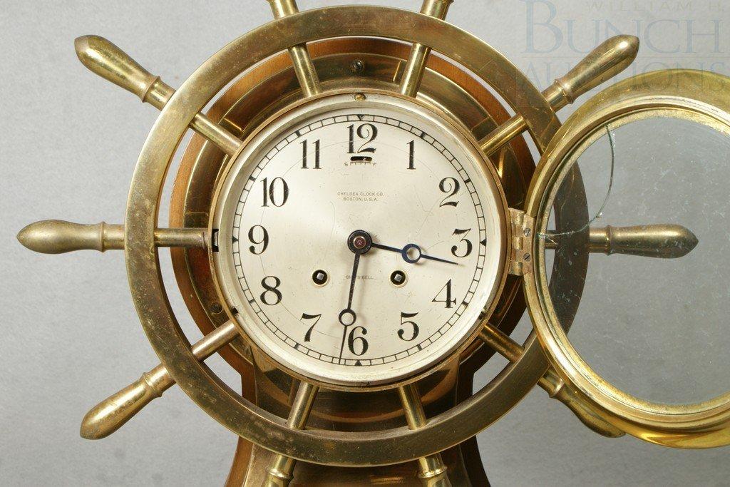 4204: Chelsea brass Mariner ships clock, mahogany base, - 2