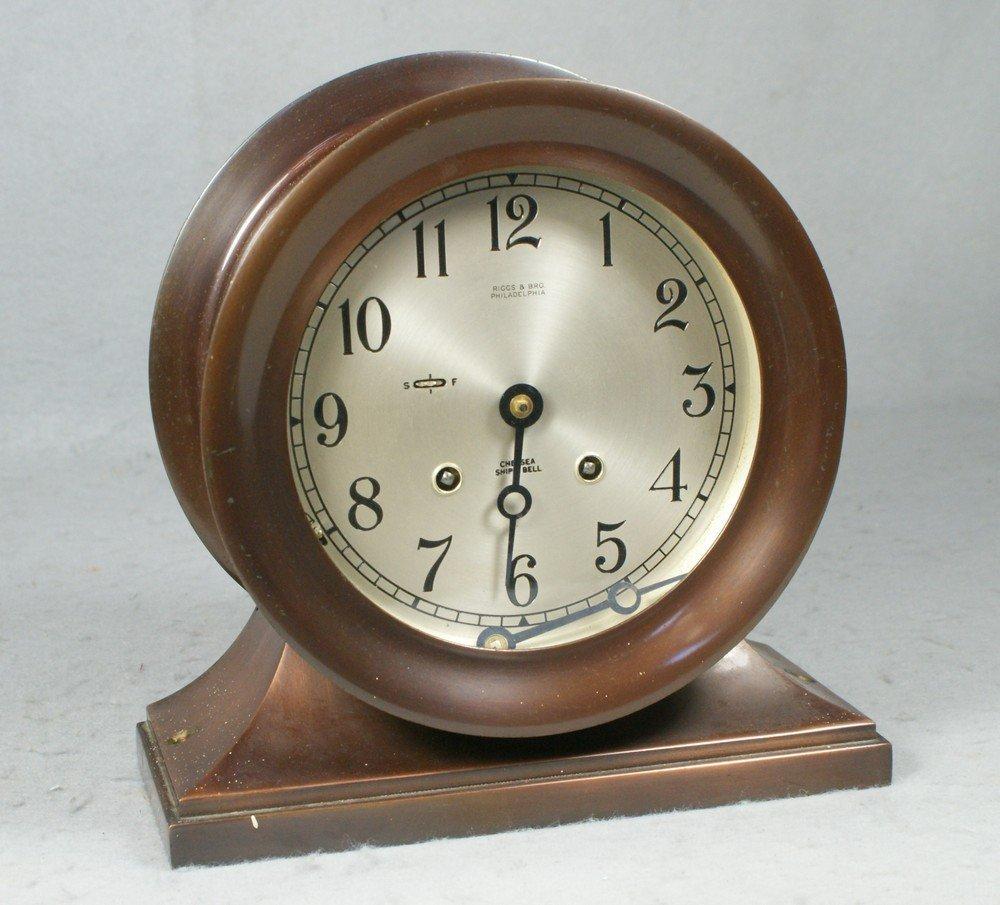 "4207: Chelsea brass ships clock, Mariner, 6"" dial marke"