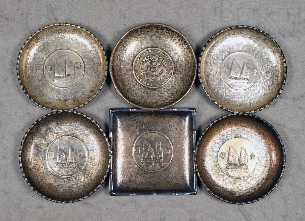 4029: (6) Chinese Silver Coin Dishes, signed, 11.24 t o