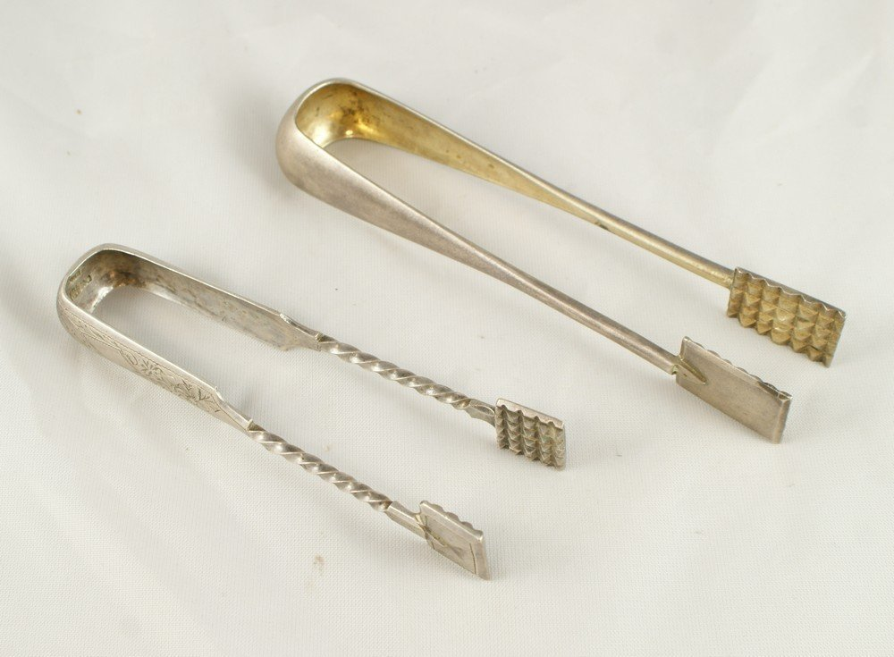 4034: 2 pr Russian Imperial tongs, engraved pair marked