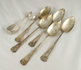 (5) 800 Silver German Tablespoons And Pr Tongs, 9